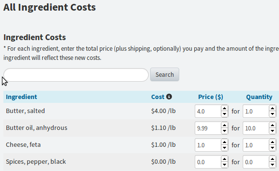 Updating ingredient costs and lists across recipes recipe costing calculator forumfinder Gallery