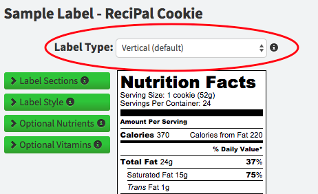 Changing your Nutrition Label Format on ReciPal
