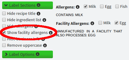 Manufactured in a facility allergens