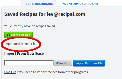 Import nutrition data to ReciPal