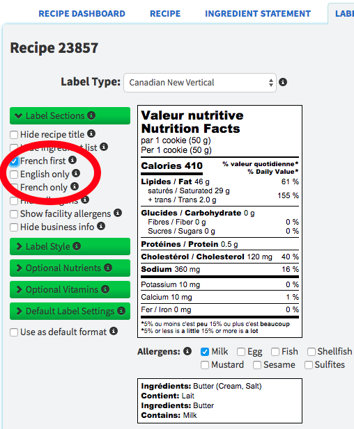 New Canada Nutrition Label Language Options