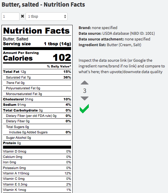 Ingredient preview with new FDA nutrition label format
