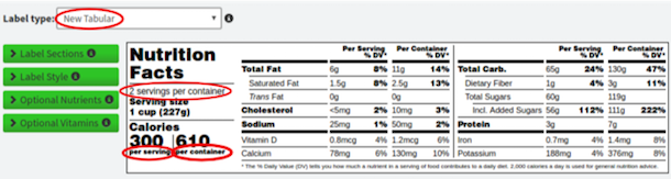 New dual tabular nutrition label 2-3 servings
