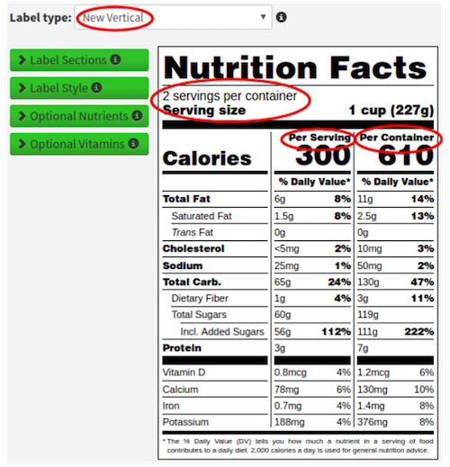 New dual vertical nutrition label 2-3 servings