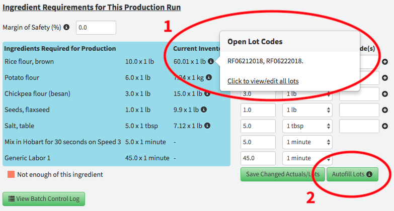 open lot codes popover in production runs