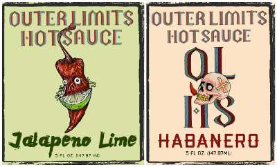 Sample label art for Outer Limits Hot Sauce