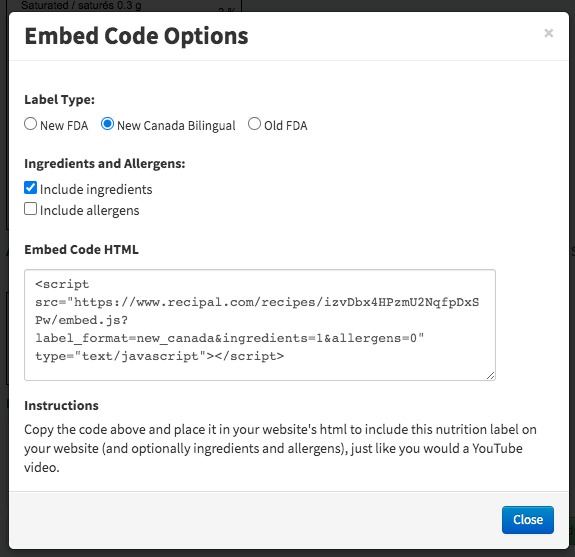 Embed code options for ReciPal nutrition labels