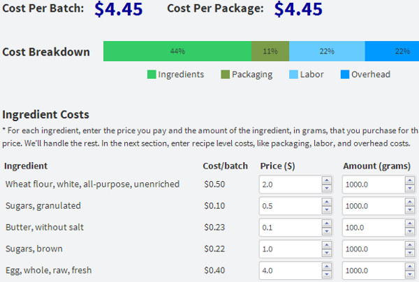 Recipe cost calculator updates units margins forumfinder Choice Image