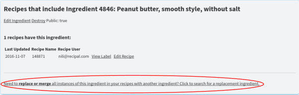 Replace Ingredient Toggle