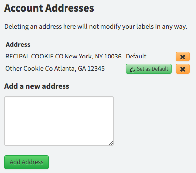 save nutrition label address settings